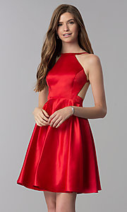 Image of open-back short red satin homecoming party dress. Style: DJ-A6689 Front Image