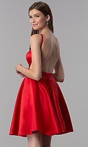 Image of open-back short red satin homecoming party dress. Style: DJ-A6689 Back Image