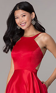 Image of open-back short red satin homecoming party dress. Style: DJ-A6689 Detail Image 1