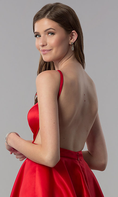 Image of open-back short red satin homecoming party dress. Style: DJ-A6689 Detail Image 2