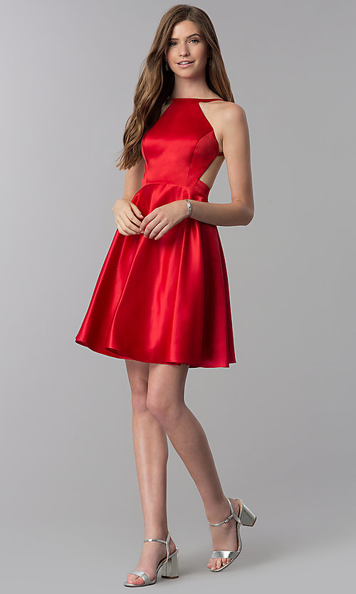 Image of open-back short red satin homecoming party dress. Style: DJ-A6689 Detail Image 3