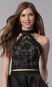 Image of short black lace-top two-piece homecoming dress. Style: DJ-A6974 Detail Image 1