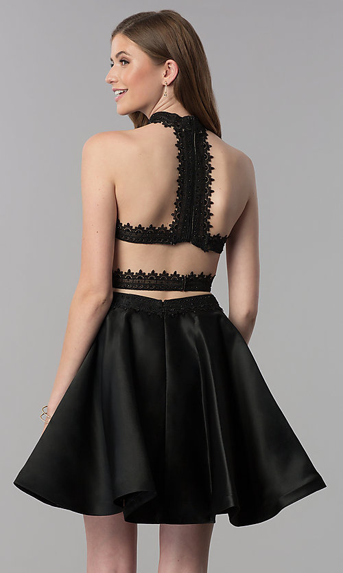 Image of short black lace-top two-piece homecoming dress. Style: DJ-A6974 Back Image