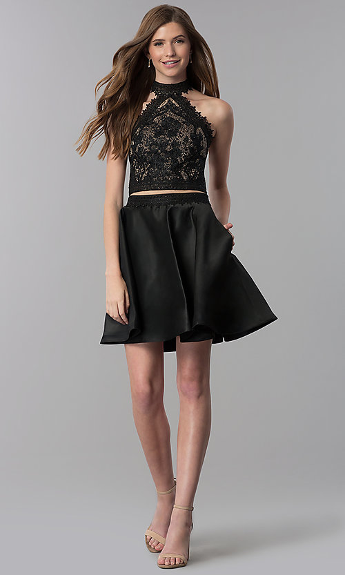 Image of short black lace-top two-piece homecoming dress. Style: DJ-A6974 Detail Image 3
