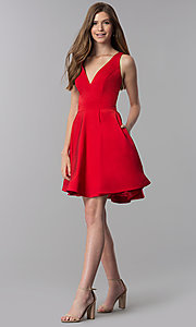 Image of short caged-open-back v-neck homecoming party dress. Style: DJ-3980 Detail Image 3