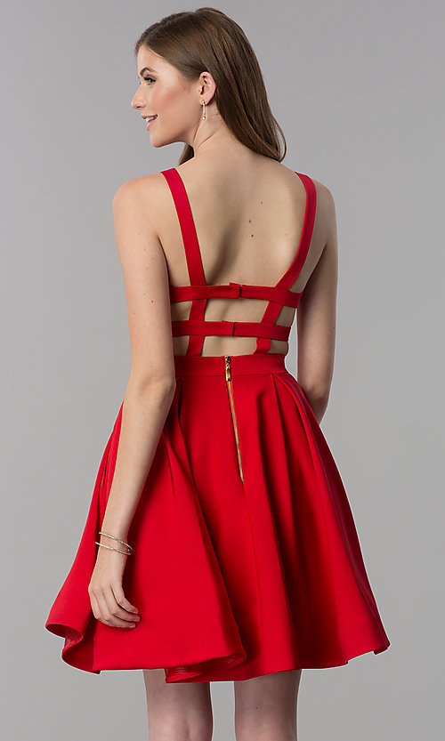 Image of short caged-open-back v-neck homecoming party dress. Style: DJ-3980 Detail Image 1