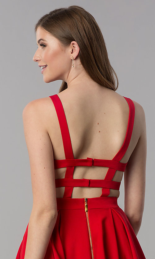 Image of short caged-open-back v-neck homecoming party dress. Style: DJ-3980 Detail Image 2