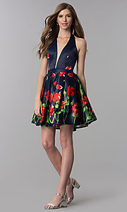 Image of short print halter homecoming dress with pockets. Style: DJ-3789 Detail Image 3