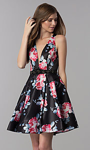 Image of floral-print open-back short homecoming party dress. Style: DJ-3804 Back Image
