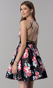 Image of floral-print open-back short homecoming party dress. Style: DJ-3804 Front Image