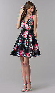 Image of floral-print open-back short homecoming party dress. Style: DJ-3804 Detail Image 3