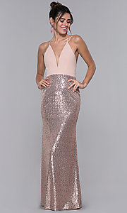Image of rose gold pink long formal dress with sequins. Style: MCR-2605 Front Image