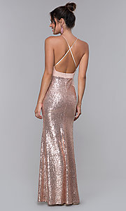 Image of rose gold pink long formal dress with sequins. Style: MCR-2605 Back Image