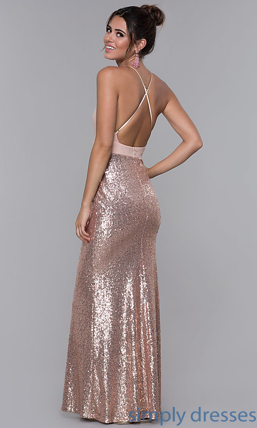 Image of rose gold pink long formal dress with sequins. Style: MCR-2605 Detail Image 3