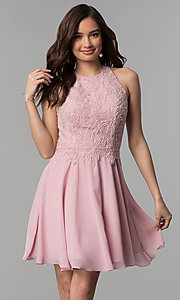 Image of short beaded-bodice chiffon homecoming party dress.  Style: MF-E2524 Front Image