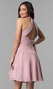 Image of short beaded-bodice chiffon homecoming party dress.  Style: MF-E2524 Back Image