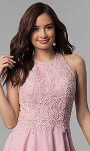 Image of short beaded-bodice chiffon homecoming party dress.  Style: MF-E2524 Detail Image 1