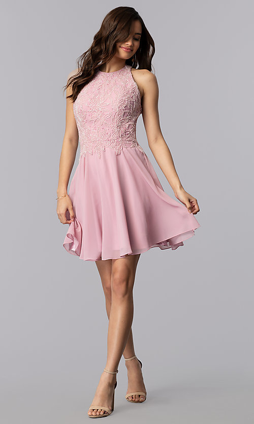 Image of short beaded-bodice chiffon homecoming party dress.  Style: MF-E2524 Detail Image 3