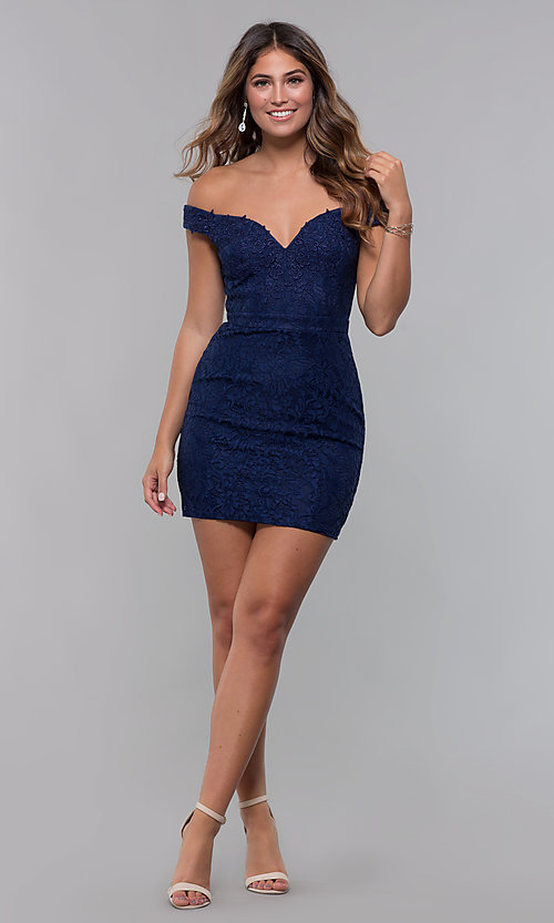 Image of sweetheart short lace homecoming party dress. Style: LP-25839 Detail Image 3