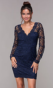 Image of long-sleeve short lace homecoming party dress. Style: LP-23273 Front Image