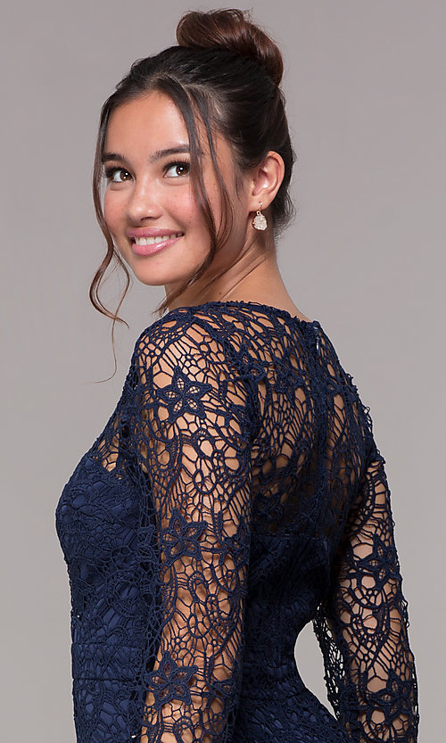 Image of long-sleeve short lace homecoming party dress. Style: LP-23273 Detail Image 2