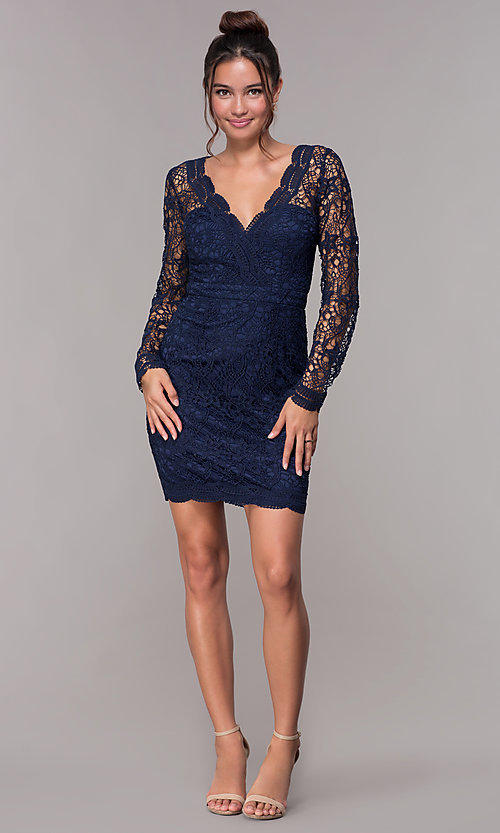 Image of long-sleeve short lace homecoming party dress. Style: LP-23273 Detail Image 3