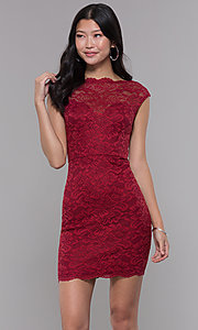 Image of cap-sleeve short lace homecoming party dress. Style: LP-27740 Front Image