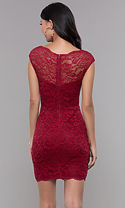 Image of cap-sleeve short lace homecoming party dress. Style: LP-27740 Back Image