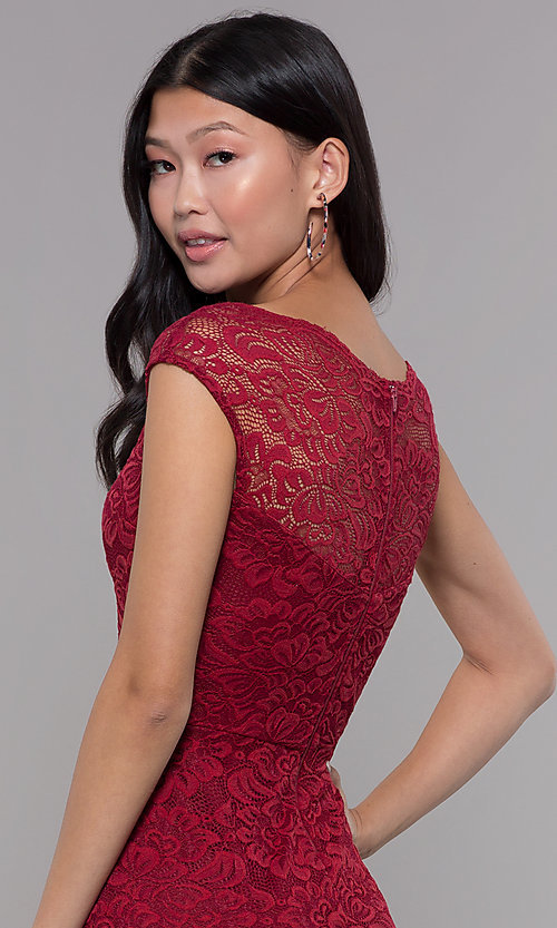 Image of cap-sleeve short lace homecoming party dress. Style: LP-27740 Detail Image 2