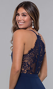 Image of short homecoming party dress with lace racerback. Style: LP-27724 Detail Image 1