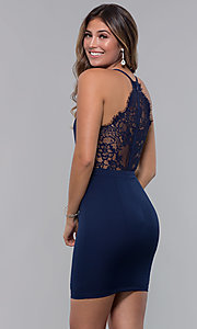 Image of short homecoming party dress with lace racerback. Style: LP-27724 Front Image