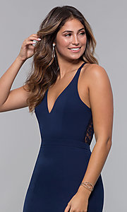 Image of short homecoming party dress with lace racerback. Style: LP-27724 Detail Image 2
