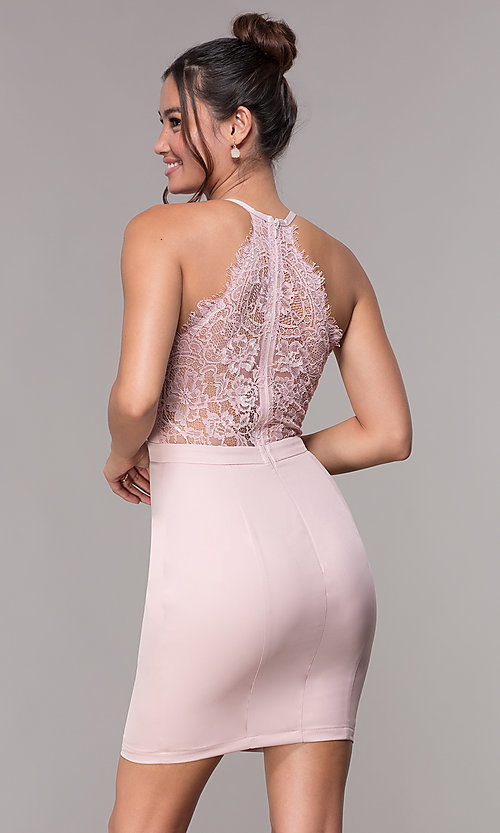 Image of short homecoming party dress with lace racerback. Style: LP-27724 Detail Image 3