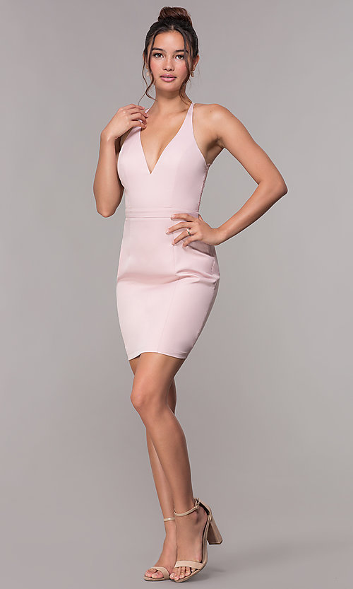 Image of short homecoming party dress with lace racerback. Style: LP-27724 Detail Image 6