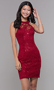 Image of short sequin-lace homecoming dress with ladder back. Style: LP-27483 Front Image