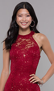 Image of short sequin-lace homecoming dress with ladder back. Style: LP-27483 Detail Image 1