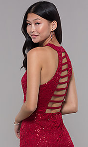Image of short sequin-lace homecoming dress with ladder back. Style: LP-27483 Detail Image 2