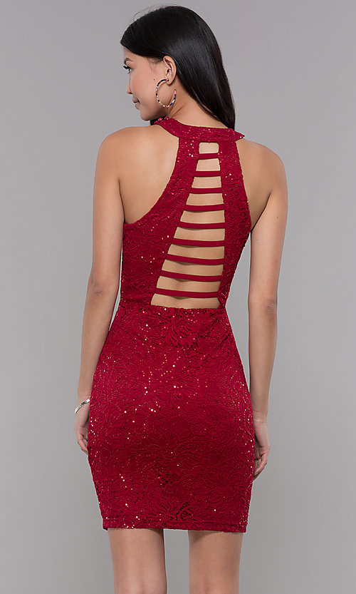 Image of short sequin-lace homecoming dress with ladder back. Style: LP-27483 Back Image