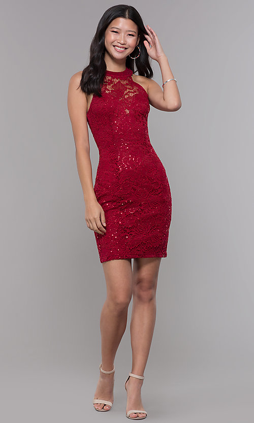 Image of short sequin-lace homecoming dress with ladder back. Style: LP-27483 Detail Image 3