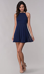 Image of chiffon short sleeveless homecoming party dress. Style: LP-27723 Detail Image 1
