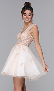 Image of JVN by Jovani tulle homecoming dress in blush pink. Style: JO-JVN-JVN62620 Front Image