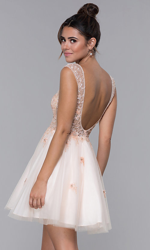 Image of JVN by Jovani tulle homecoming dress in blush pink. Style: JO-JVN-JVN62620 Back Image