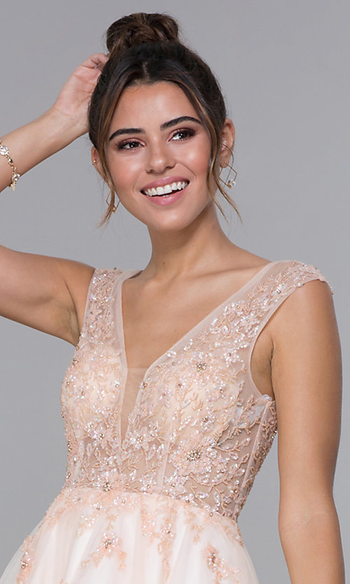 Image of JVN by Jovani tulle homecoming dress in blush pink. Style: JO-JVN-JVN62620 Detail Image 1