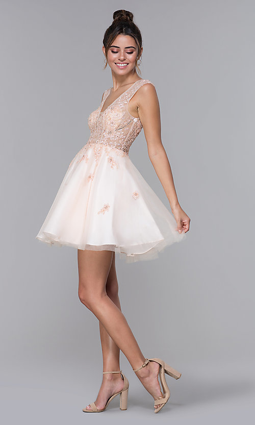 Image of JVN by Jovani tulle homecoming dress in blush pink. Style: JO-JVN-JVN62620 Detail Image 3