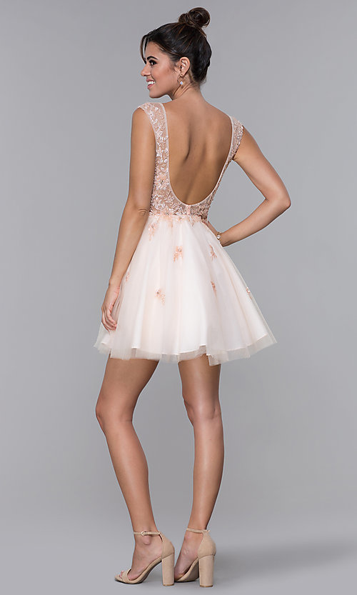 Image of JVN by Jovani tulle homecoming dress in blush pink. Style: JO-JVN-JVN62620 Detail Image 2