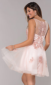 Image of short homecoming embroidered-lace-applique dress. Style: JO-JVN-JVN66550 Detail Image 5