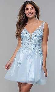 Image of short homecoming embroidered-lace-applique dress. Style: JO-JVN-JVN66550 Front Image