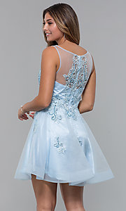 Image of short homecoming embroidered-lace-applique dress. Style: JO-JVN-JVN66550 Back Image
