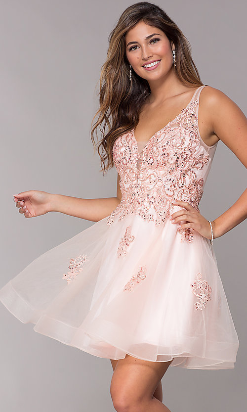 Image of short homecoming embroidered-lace-applique dress. Style: JO-JVN-JVN66550 Detail Image 4
