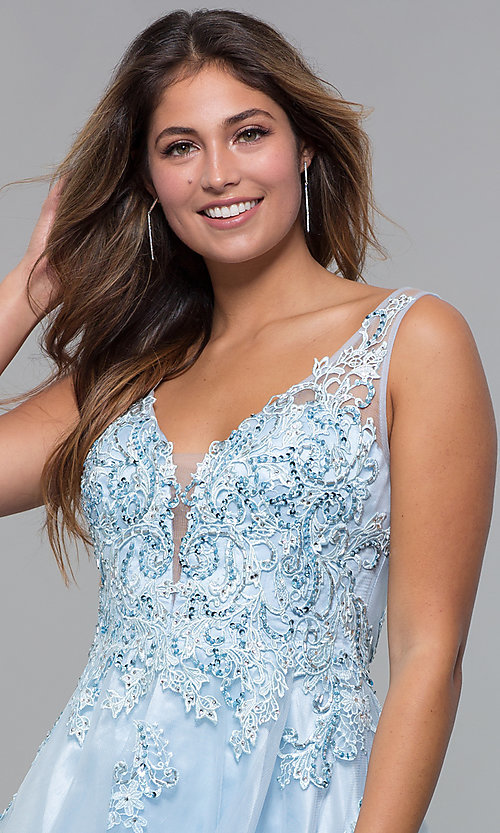 Image of short homecoming embroidered-lace-applique dress. Style: JO-JVN-JVN66550 Detail Image 1